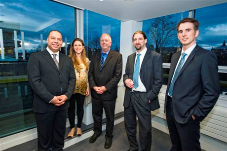 Professor Peter Kind, Dr Andrew Stanfield and Professor Sir John Savill, Head of the College of Medicine and Veterinary Medicine, host Gus Alusi and Reem Waines at a special even to celebrate the Centre's opening