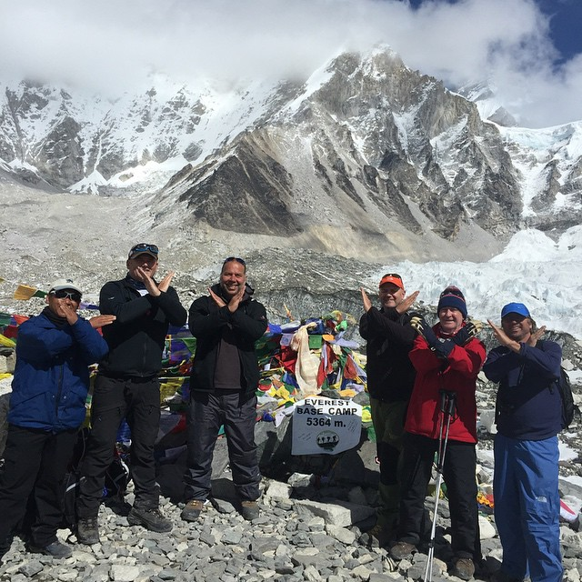 Gus (3rd from left) and his team at Everest Base Camp, 5364m