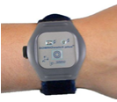 Digital image of a wrist wearing a watch-like device